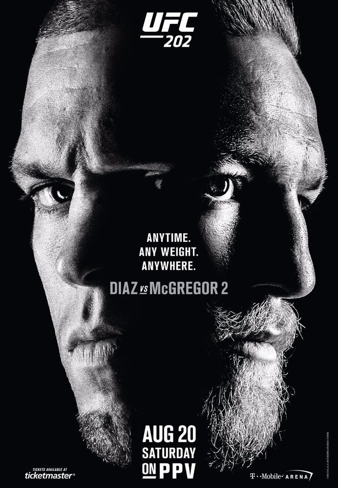 """Conor Mcgregor VS Nate Diaz Second Match Poster UFC 202 Fight Card Print Size 13x20"""" 24x36"""" 32x48"""""""