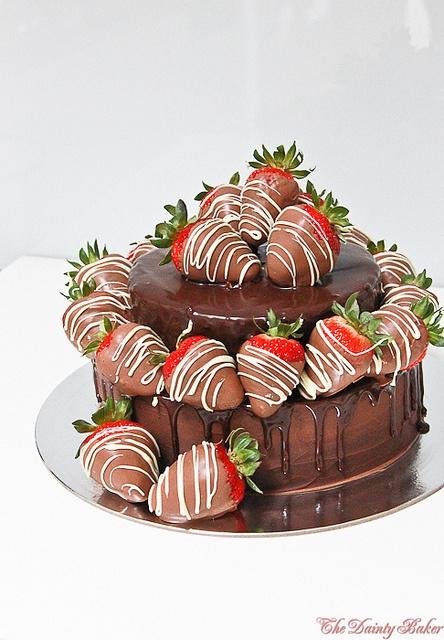 Chocolate Strawberry Ganache Mud Cake