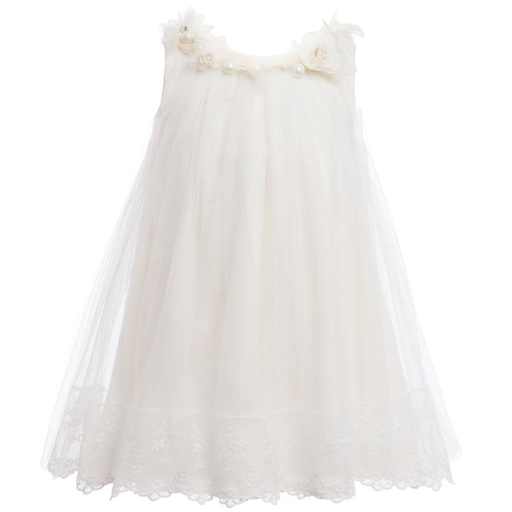 Balloon Chic Ivory Tulle Dress with Pearl Beads & Flowers at Childrensalon.com