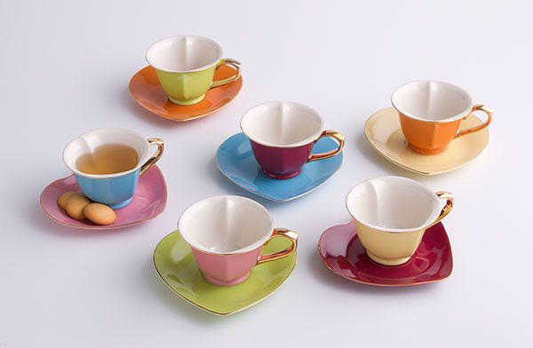 Inside Out Heart Cups/Saucers Set, Teacups, Tabletop, Home Furnishings - The Museum Shop of The Art Institute of Chicago