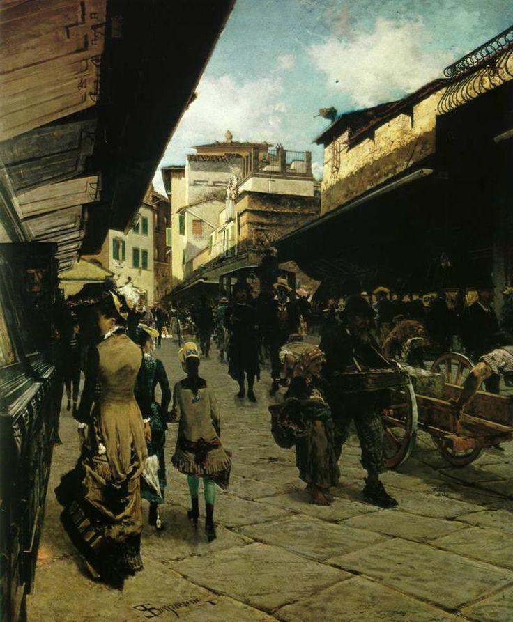.@david195885 Telemaco Signorini - Firenze, il Ponte Vecchio 1880