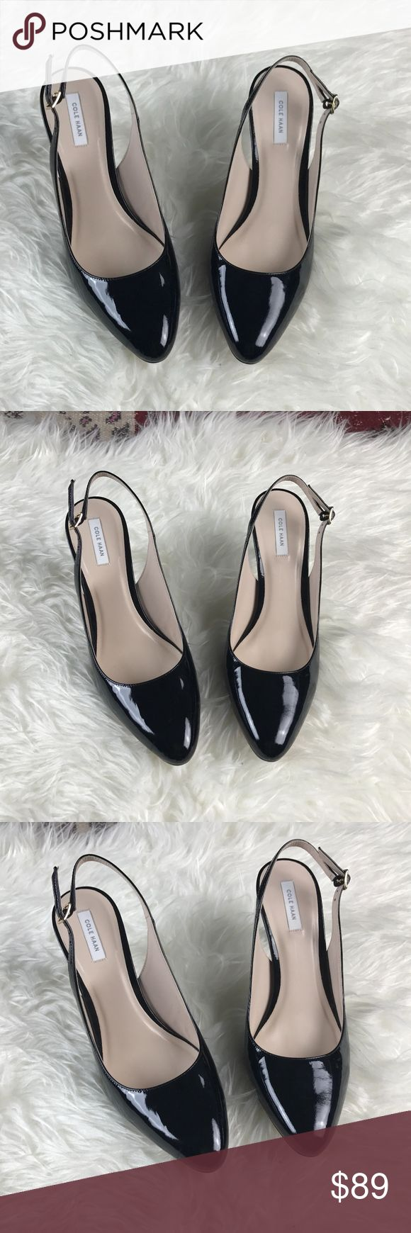 "{Cole Haan} Black Patent Leather Slingback Pumps Brand New with Nordstrom Rack Tag Gold Hardware 3.5"" Heel  Retail $248 Silver Pen mark on the bottom see last picture Cole Haan Shoes Heels"
