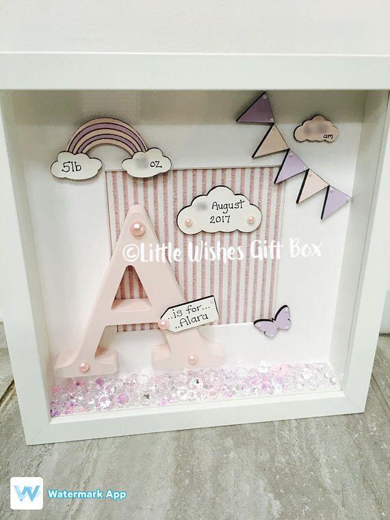 Baby Girl birth / child initial box frame New Baby Nursery