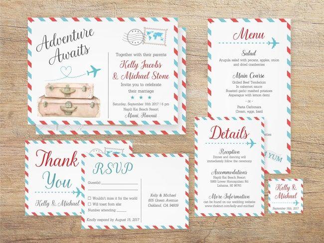 20 Printable Travel Theme Wedding Invitations Destination