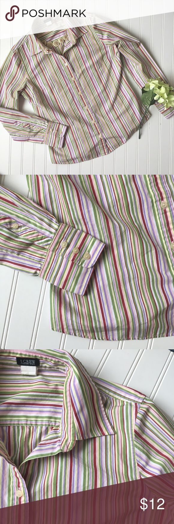 """J. Crew factory outlet striped button up blouse! M Multicolored striped button up blouse from J. Crew. Pinks, greens, yellow stripes and it has long sleeves. Stiff, structured fabric. Cotton  J. Crew // Medium // B 19"""" L 23.5"""" // J. Crew Factory Tops Button Down Shirts"""