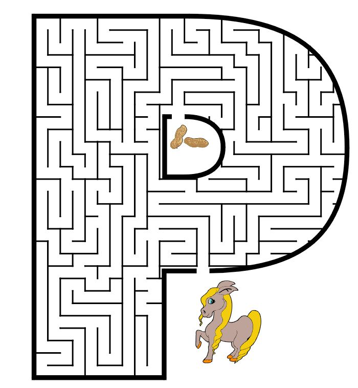 Free Printable Maze of the letter P