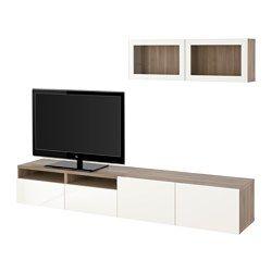 IKEA - BESTÅ, Alm TV, riel para cajón con cierre suave, efecto nogal tinte gris/Selsviken alto brillo/vidriotranspblanco, , Las puertas y cajones llevan un sistema integrado para abrir/cerrar suave y silenciosamente.Esta combinación te ofrece mucho almacenaje y facilita mantener en orden el salón.Es fácil tener  los cables del TV y otros dispositivos ocultos pero a mano, gracias a las aberturas de la parte de atrás del mueble de TV.La abertura de la parte superior permite pasar los cables…