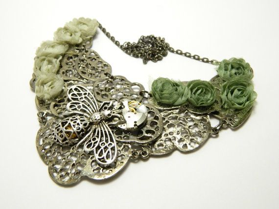 "Green and gray fabric flowers, patina silver colored steampunk choker ""The Big Bee"", steampunk bee, free shipping, OOAK, one of a kind"