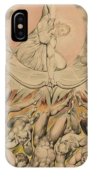 The IPhone X Case featuring the painting The Casting Of The Rebel Angels Into Hell 1808 by Blake William