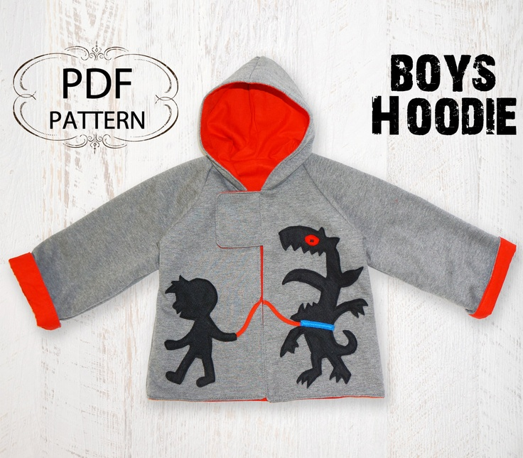 Not sure why it needs to be a boys hoodie--Despite the unnecessary gender assignment and some egregious use of Papyrus font on another image, and the annoying fact that I've never sewn a garment, I really want to make this for my kid! Boys sewing pattern, children pattern, baby pattern, sewing pdf pattern, boys jacket, reversible pattern,  MONSTER HOODIE. $7.50, via Etsy.