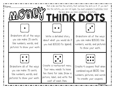 Great idea for offering student choice and differentiating instruction when learning about money.