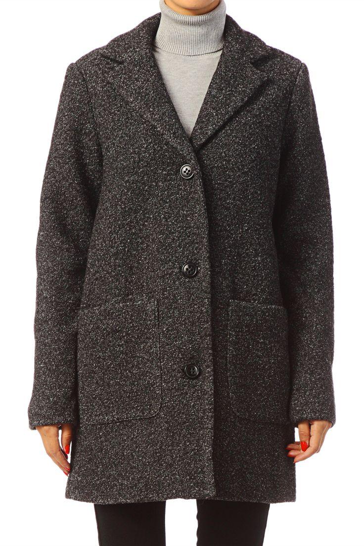 Manteau 3/4 en drap de laine Trust Gris Vero Moda