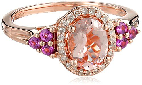 10k Pink Gold Morganite, Rhodolite and Diamond (1/10cttw, H-I Color, I2-I3 Clarity) Oval Ring, Size 7 Amazon Curated Collection http://smile.amazon.com/dp/B00M1FKB1A/ref=cm_sw_r_pi_dp_6ouXub1G5FAHN