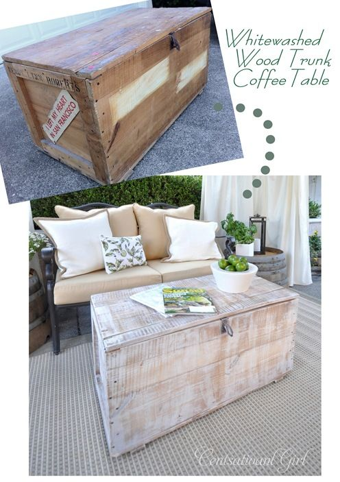 Whitewashing TechniqueDecor, Ideas, Old Trunks, Coffee Tables, White Wash, Whitewash Furniture, Diy Furniture, Trunks Coffee, House