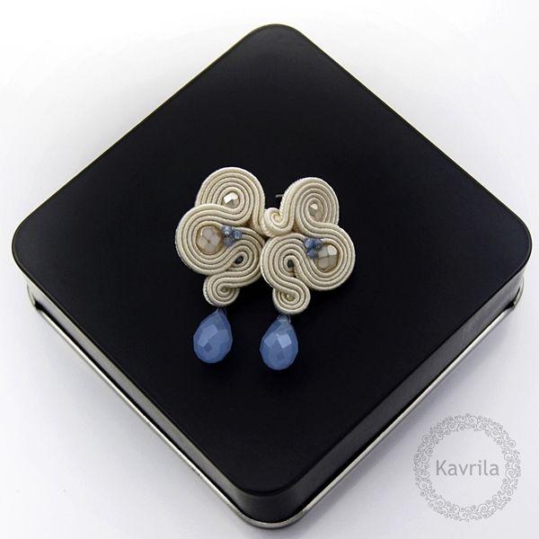 Femini light blue soutache - kolczyki ślubne sutasz KAVRILA #sutasz #kolczyki #ślubne #rękodzieło #soutache #handmade #earrings #wedding #ivory #lightblue #kavrila