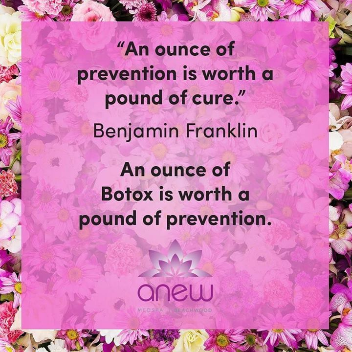 Get your aging prevention at Anew! Call us today to find out how you can prevent aging! #ANEWmedspa #anewyou #anewyou2017 #ANEW #anewbeginning #anewbeachwood #botox #fillers #juvederm #restylane #silkpeel #dermalinfusion #skincare #medspa #hairremoval #underarmsweating #coolsculpting #fatreduction #bodycontouring #freezethefat #freezefat #lips #loveyourlips http://ift.tt/2mr3fDu