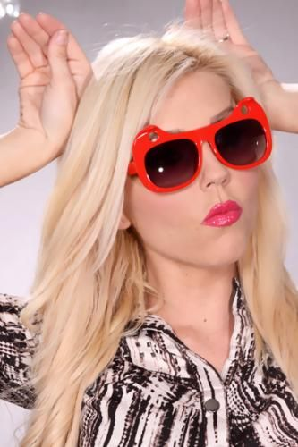 Red Cutout Curve Out Kitty Ears Sunglasses