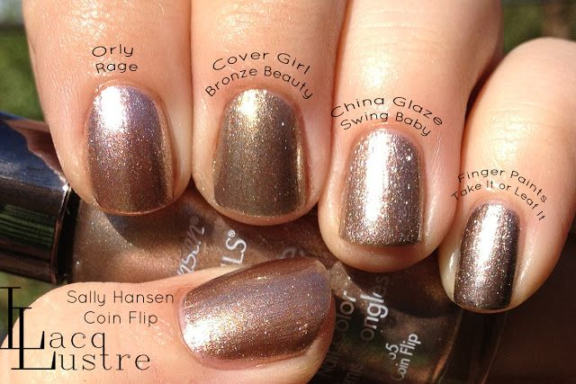 Orly Rage, Cover Girl Bronze Beauty, China Glaze Swing Baby, Finger Paints Take it or Leaf It, and Sally Hansen Coin Flip Comparison swatch