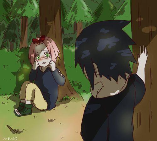 Sasuke finding Sakura who got lost in the forest. So... So damn cute!!!