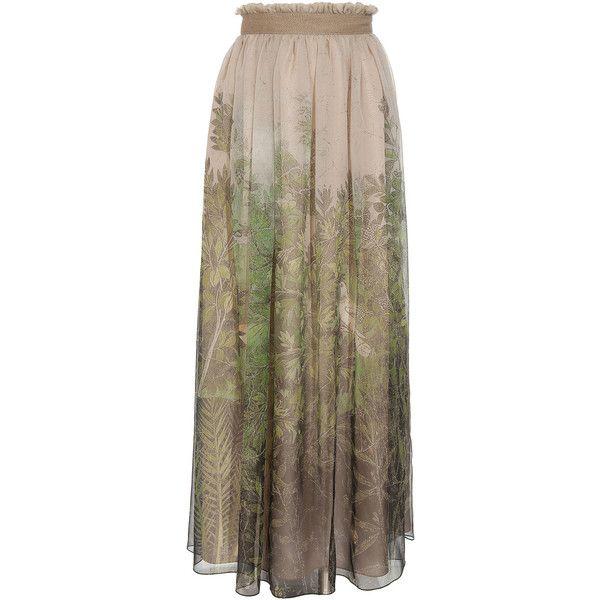 Alberta Ferretti Printed silk maxi skirt (€1.265) ❤ liked on Polyvore featuring skirts, bottoms, saias, maxi skirts, women, long skirts, ruffle maxi skirt, brown skirt, long fitted skirts and silk maxi skirt