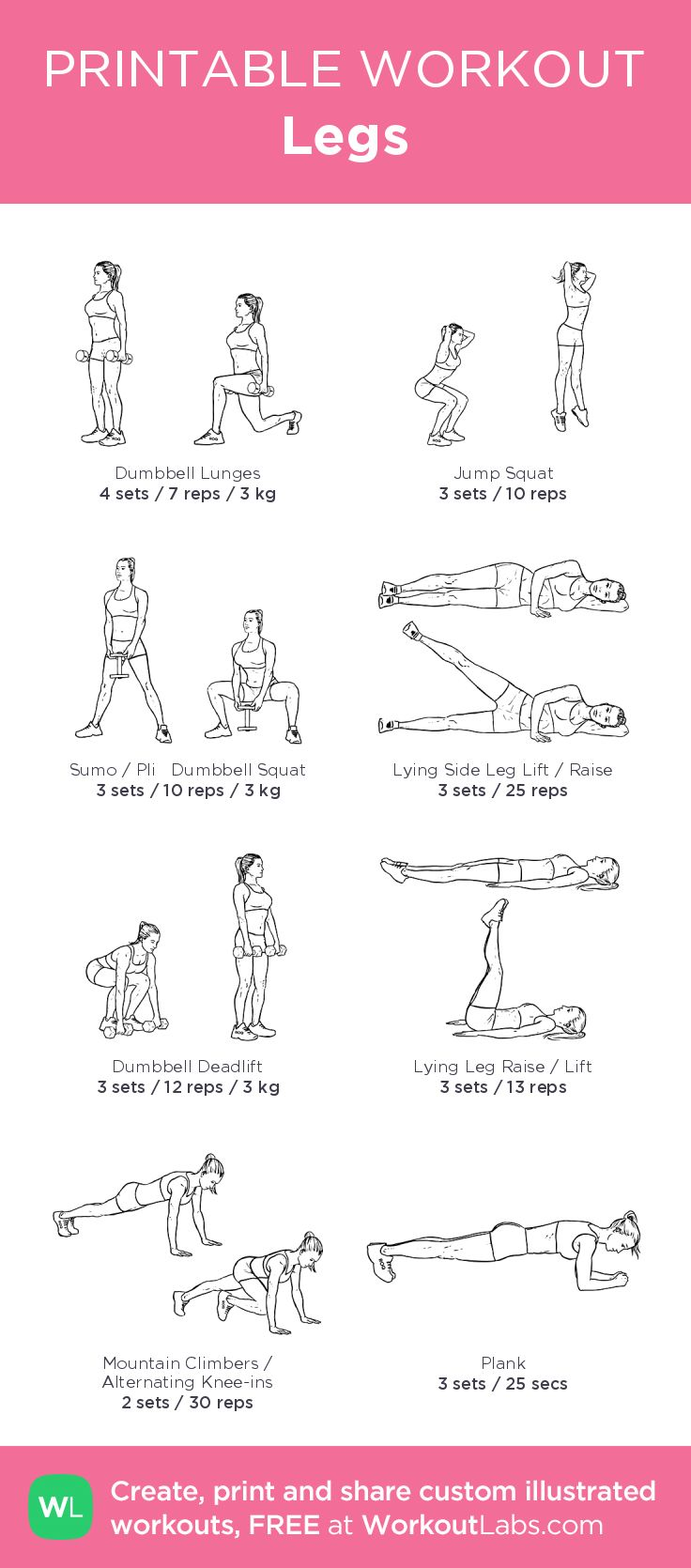 Legs– my custom exercise plan created at WorkoutLabs.com • Click through to download as a printable workout PDF #customworkout