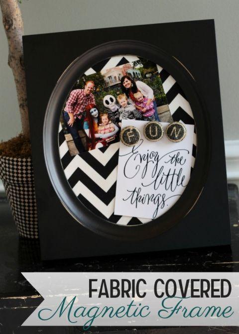 Fabric Covered Magnet Frames on { lilluna.com } Super cute and easy to make!!