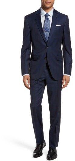 Men's Navy Ted Baker London Jay Trim Fit Plaid Wool Suit - Navy Suit - Nordstrom Half Yearly Sale #NordstromSale