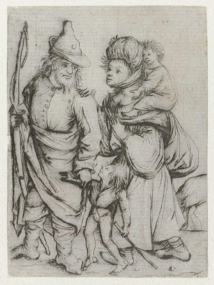 Meester van het Amsterdamse Kabinet | Zigeunerfamilie, Meester van het Amsterdamse Kabinet, 1475 - 1480 | Een oosters gekleed echtpaar met twee kinderen. De man draagt een breed gerande hoed en heeft een boog in zijn hand. De vrouw draagt een tulband en een plunjezak over haar schouder.