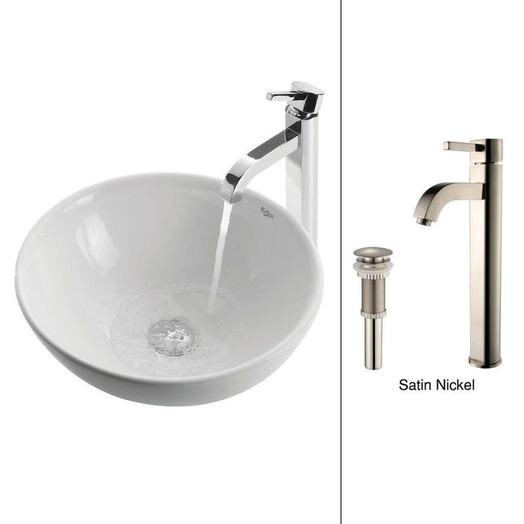 Kraus Round White Porcelain Ceramic Bathroom Vessel Sink And Ramus Faucet Combo Set With Pop Up Drain Satin Nickel Finish C Kcv 141 1007sn The Home Depot Sink Ceramic Sink Ceramic Vessel