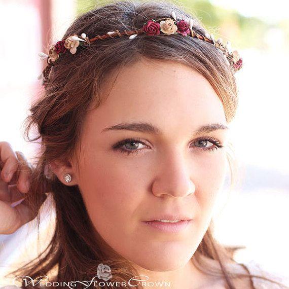 Burgundy Flower Girl Crown Rustic Burgundy Hair Wreath Rose Halo by…