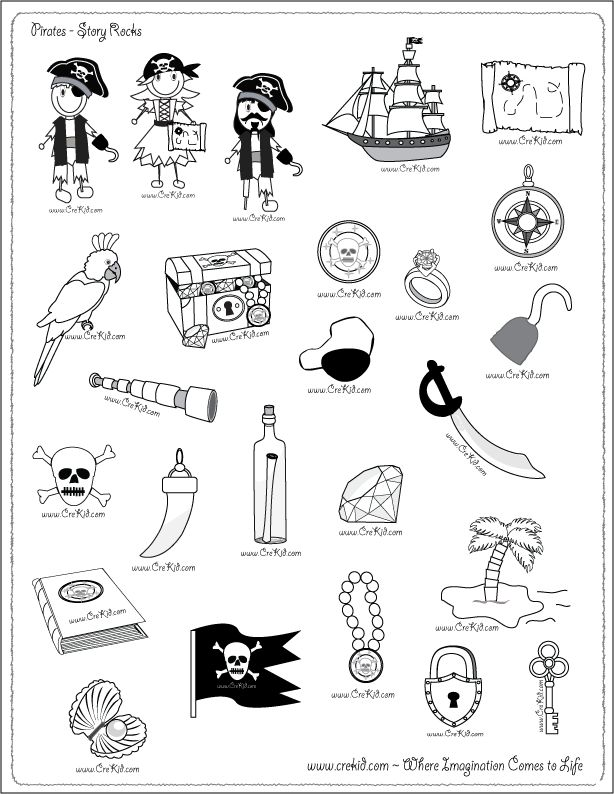 CreKid.com - FREE Story Rocks Printouts - Pirate Story Rocks - Spark your child's imagination and creativity. Preschool - Pre K - Kindergarten - 1st Grade - 2nd Grade - 3rd Grade. www.crekid.com