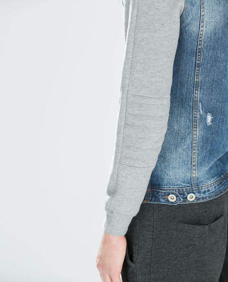 ZARA - SALE - DENIM JACKET WITH FLEECE SLEEVES