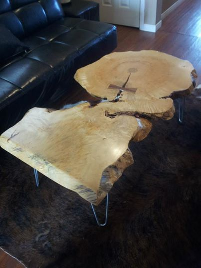 Our Live Edge Maple Coffee Table on Steel Hairpin Legs. How unique!