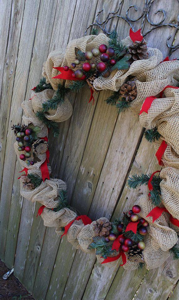 31 inch Burlap Christmas Wreath by SuzyPetalPusher on Etsy