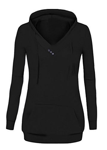 656ac503f82 Fensajomon Womens Stylish Solid V Neck Pullover Hooded Sweatshirts Black M