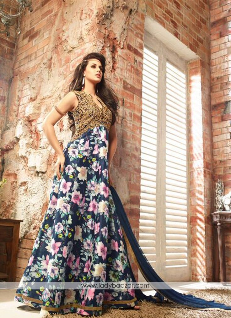 Charming Banarasi Floral Anarkali Suit #Banarasi #SalwarSuit #Floral #Anarkali