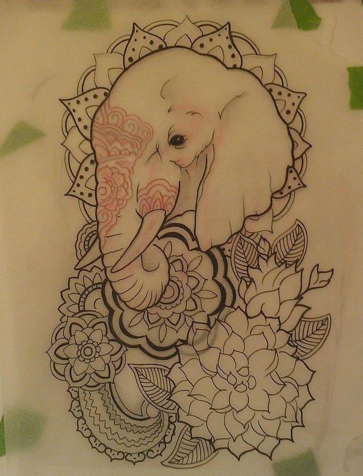 Elephant tattoo. Symbol of strength and peace