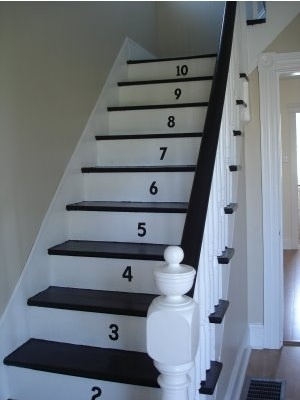 Love this idea as a stylish way to start learning numbers. Don't have stairs so I'll need to find something else to number.