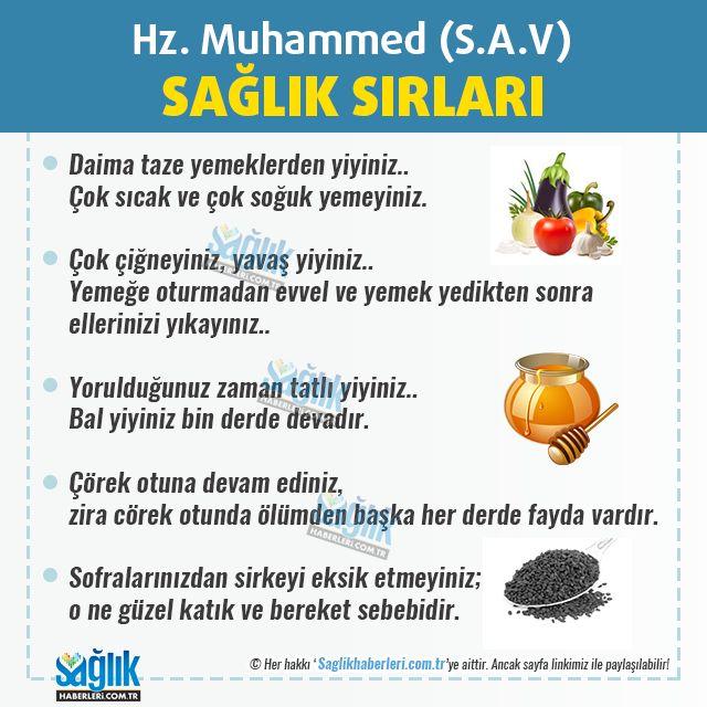 Peygamber Efendimiz Hz. Muhammed (S.A.V)'in Sağlık Sırları! Daima taze yemeklerden yiyiniz... Çok sıcak ve çok soğuk yemeyiniz. Çok çiğneyiniz, yavaş yiyiniz... Yemeğe oturmadan evvel ve yemek yedikten sonra ellerinizi yıkayınız... Yorulduğunuz zaman tatlı yiyiniz... Bal yiyinız bin derde devadır. Çörek otuna devam ediniz, zira cörek otunda ölümden başka her derde fayda vardır. Sofralarınızdan sirkeyi eksik etmeyiniz; o ne güzel katık ve bereket sebebidir. #sağlık #saglik #sağlıkha
