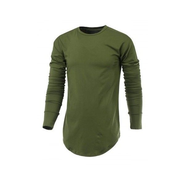 Side Slit Arc Cutting Round Neck Long Sleeve T-Shirt (83 BRL) ❤ liked on Polyvore featuring tops, t-shirts, long sleeve tops, long sleeve tees, green long sleeve tee, round neck tee and green long sleeve top