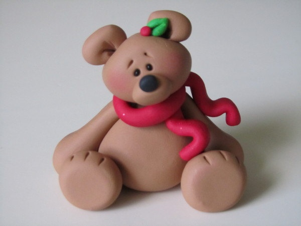 Image detail for -Polymer Clay Christmas Bear Figure by ClayPeeps on Etsy
