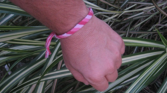 Three Shades of Pink Candy Stripe Bracelet by SaxophoneChick, $5.00