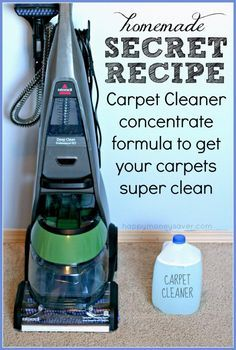 Best Natural Homemade DIY Cleaners and Recipes - Homemade Carpet Cleaning Solution Secret Recipe  - All Purposed Home Care and Cleaning with Vinegar, Essential Oils and Other Natural Ingredients For Cleaning Bathroom, Kitchen, Floors, Laundry, Furniture and More http://diyjoy.com/best-homemade-cleaners-recipes