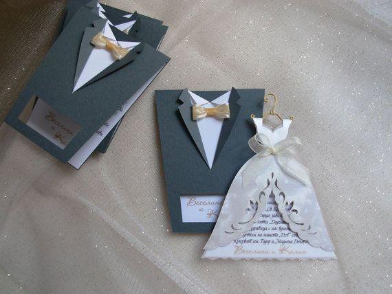 """25 venticinque pezzi di inviti di nozze Bridal Handmade """"Sposa e lo sposo"""""""