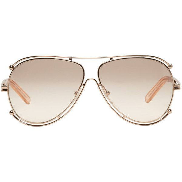Chloé Rose Gold Aviator Sunglasses ($395) ❤ liked on Polyvore featuring accessories, eyewear, sunglasses, glasses, rose, uv protection sunglasses, rose sunglasses, nose pads glasses, rose gold sunglasses and chloe glasses