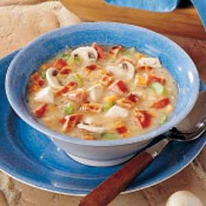 Slow-Cooked Sauerkraut Soup minus shrooms and mushroom soup sounds yummy. My good old standby cream of chicken or cream of celery