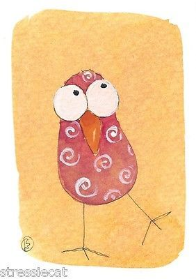 ACEO Original Watercolor Folk Art Painting Whimsical Birds Twiddle Dee Dum | eBay... by Stressie Cat
