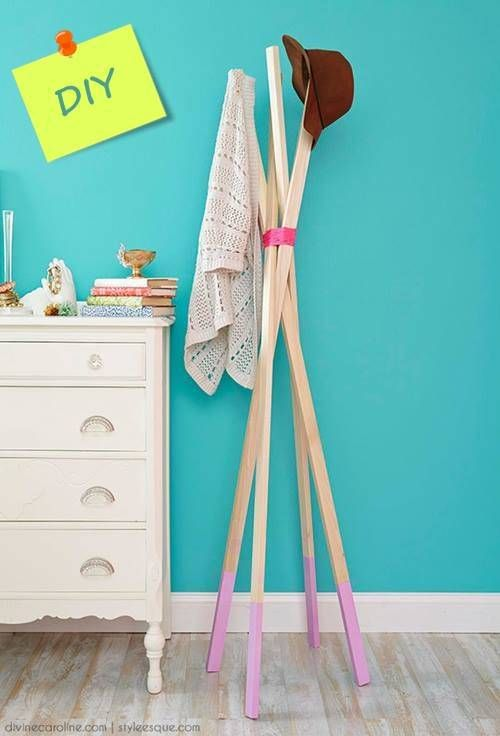 #DIY wooden stick coat rack
