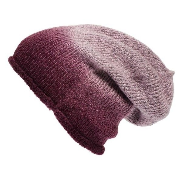 Phase 3 Ombre Beanie (£13) ❤ liked on Polyvore featuring accessories, hats, beanie, purple nectar, purple slouch beanie, saggy beanie, slouchy beanie hat, slouch beanie and beanie hats