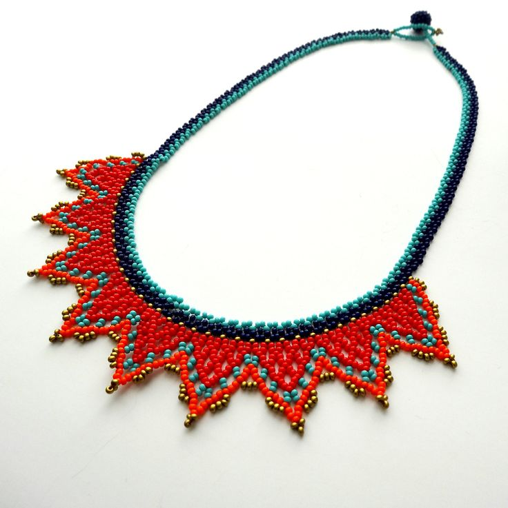 Small Crown - teal, navy, red and orange necklace - Handmade by Luciana Lavin by LucianaLavin on Etsy
